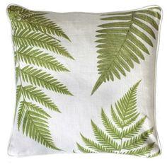 Green fern cushion, white linen