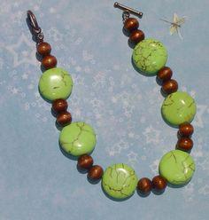 Aspen Leaves Light Green  Turquoise and Wood Bracelet-FREE US SHIPPING. $18.00, via Etsy.
