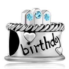 March Stone Birthday Cake Aquamarine Crystal Candles Gift Holiday Beads Pandora Chamilia Compatible | Charmsstory.com #birthday #charms #pandora #beads #cake #happybirthday #march