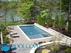 rectangular pool with cover.