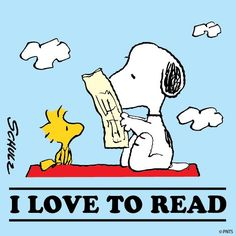 I Love To Read - Snoopy And Woodstock Reading Newspaper