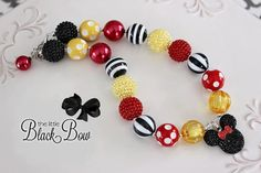 MINNIE MOUSE Inspired Chunky Necklace Classic Red, Yellow & Black Beads Child, Toddler or Baby Size Bubblegum Gumball Girls Beaded Necklace