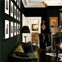 Love the dark walls, worn leather chair, velvet sofa...tones work well unexpected rug