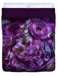 Peonies In Purples decorator duvet cover featuring the art of Carol Cavalaris.