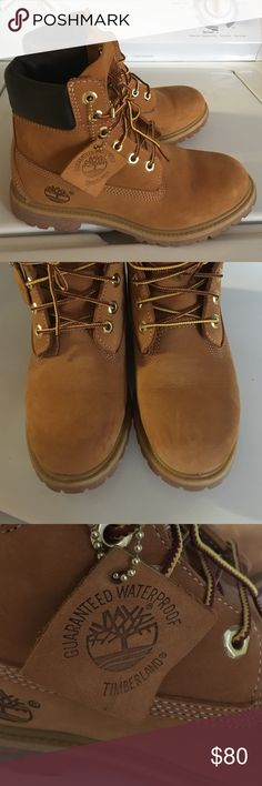 Women's 6 inch Timberland Boots (Waterproof) Gently used timbs, have small creases below toe area and a few barely noticeable scuffs. Great value Timberland Shoes Lace Up Boots