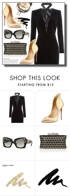 """SMARTBUYGLASSES contest"" by jelena-880 ❤ liked on Polyvore featuring Balmain, Christian Louboutin, Versace, KAROLINA, Chanel, Urban Decay and smartbuyglasses"