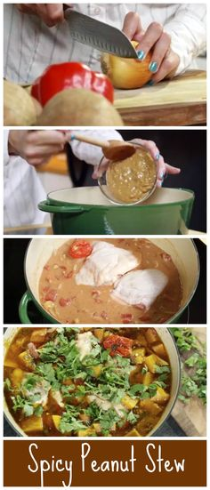 Spicy Peanut Stew. This is reminiscent of a spicy North African peanut stew - we dial back the chili's a little bit... but feel free to add as much heat as you like! #Stew #Peanut #Chicken http://www.ifood.tv/recipe/spicy-peanut-chicken-stew