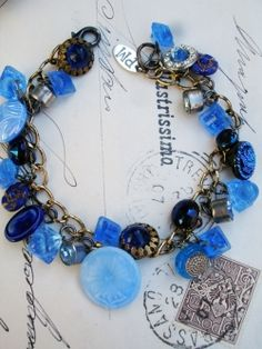 Vintage Blue Button Repurposed Bracelet #1