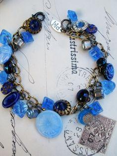 Vintage Blue Button Repurposed Bracelet #1