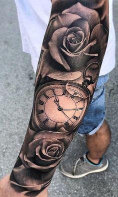 Tattoo Tattoo Arm Tattoo Arm vertuschen halbes Sleev Tattoo … – tattoos for women half sleeve Rose Tattoos For Men, Trendy Tattoos, Tattoos For Guys, Tattoos For Women, Cover Up Tattoos For Men, Clock Tattoo Sleeve, Arm Sleeve Tattoos, Tattoo Sleeve Designs, Calf Tattoo