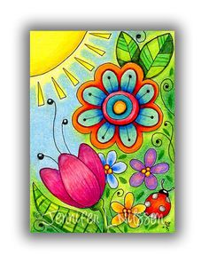 Aceo original - morning in the garden - colorful colored pencil drawing flower fantasy doodle drawings Art Drawings For Kids, Easy Drawings, Flower Doodles, Color Pencil Art, Doodle Art, Doodle Drawings, Pencil Drawings, Whimsical Art, Flower Art