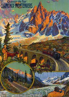 Vintage Railway Travel Poster - Chamonix -Montenvers - France.