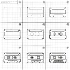 How to draw a cassette tape.
