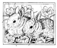 Northwoods Rubber Stamps - Wood Mounted - Bunnies and Crocus In Rectangle