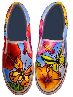 Butterfly Hibiscus Custom Painted Shoes Painting