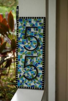 Mosaic Address Sign  2 House Numbers by GreenStreetMosaics on Etsy, $75.00