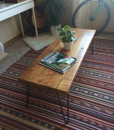 Reclaimed Wood Coffee Table with Hair pin legs by KnotandRivet