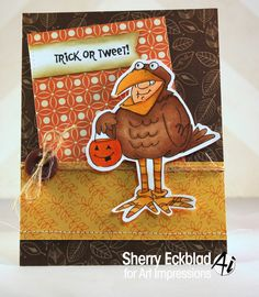 Art Impressions Ai Halloween Tweeter Set Sku#4523 Handmade chicken costume card.  Trick or Tweet!
