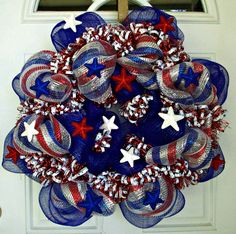 Summer Wreath Mesh Wreath Patriotic Wreath Large by MeMaandCo