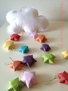 RAINDROPS baby NURSERY MOBILE - rainbow garland - cloud and stars baby mobile decoration by Allweneedisorigami on Etsy