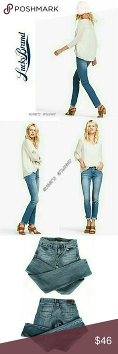 """LUCKY BRAND SWEET'N  STRAIGHT JEANS LUCKY BRAND SWEET'N STRAIGHT  JEANS Pre-Loved  / Image for Similarity   *   Size 8/29 *   99% Cotton 1% Spandex *   Standard 5 Pocket Jean's  *   Intentional Fading In Front *   Approx Meas; 15 """" Inseam 32"""" Rise 9"""" Leg Opening 6 1/2"""" Pls See All Pics. Ask . If Needed Lucky Brand Jeans Straight Leg"""