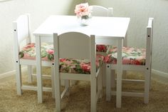 DIY Fancied Up Kids Table and Chairs - Fancy Ashley