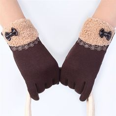 Brand new Winter Warm Gloves Mittens 6 Colors Finger Female Mitts Gants Femme for Women Bow Screen Gloves 2016 Gift 1pair
