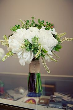 White and Green Bridal Bouquet with Peonies and Green Hypericum Berries - The French Bouquet