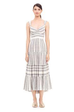 La Vie Gauzy Stripe Tiered Dress