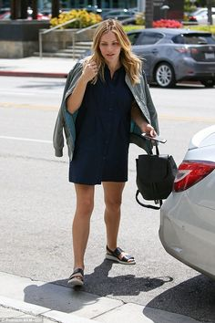Navy belle: Katharine McPhee looked summery in a navy blue outfit as she hit up Spago in B...
