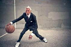 Aging with style .. Suited up .. Game on