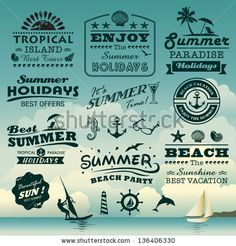 Vintage summer typography design with labels, icons elements collection by Catherinecml, via ShutterStock