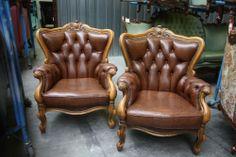 Fantastic Pair French Arm Chairs Leather Louis XV #LouisXIIIXIVXVXVI