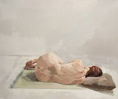 "Saatchi Art Artist Ingrid Flinn; Painting, ""Nude in Fetal Position"" #art"