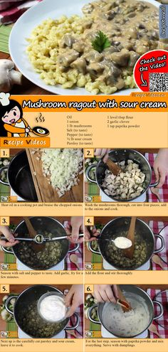 Mushroom ragout with sour cream recipe with video. Detailed steps on how to prepare this easy Mushroom ragout with sour cream recipe! Veggie Recipes, Cooking Recipes, Healthy Recipes, Sports Food, Good Food, Yummy Food, Stuffed Mushrooms, Stuffed Peppers, Hungarian Recipes