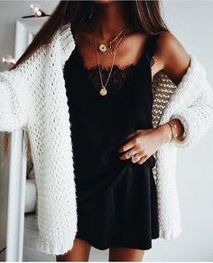 Cozy white jacket over little black dress.