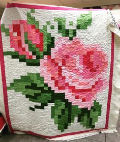 "39 Likes, 6 Comments - Augusta Sewing Center (@augusta_sewing) on Instagram: ""Look at this Pixelated Rose quilt one of our customers made! The pattern is free from Riley…"""