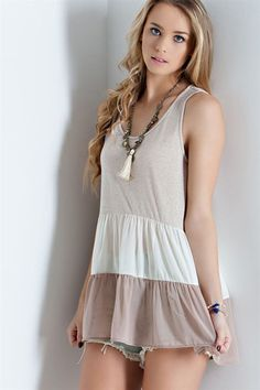 Taupe Ruffle Babydoll Top – Texas Two Boutique