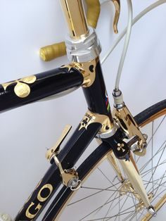 24K GOLD PLATED CAMPAGNOLO  C RECORD DELTA BRAKE CALIPERS PERFORATED CLUB LOGO AND PANTOGRAPHED ERNESTO COLNAGO SIGNATURE