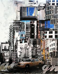 """Main Street"" Mixed Media City Scene Art on Canvas-James Hudek Mix Media, Mixed Media Art, Skyline Painting, Collage Techniques, City Scene, A Level Art, Collage Art, Collages, Urban Landscape"