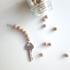 DIY wooden bead key chain