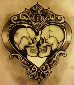 Heart and Skulls - This is also a great idea for a couple chest tattoo! #TattooModels #tattoo