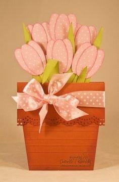 Cartão com vaso de flores