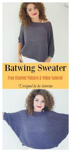 Batwing Sweater Free Crochet Sample and Video Tutorial Tutorial] Easy Crochet Sweater Pattern For BeginnersHabitat Cardigan – Beginner Crochet Sweater…Easy Crochet Cardigan Video Tutorial – free… Pull Crochet, Mode Crochet, Crochet Baby, Crochet Tops, Crochet Sweaters, Crochet Granny, Crochet Jumpers, Crochet Shrugs, Crotchet