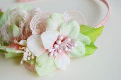 Pastel flower headband Flower girl headband Peach by LumilinA