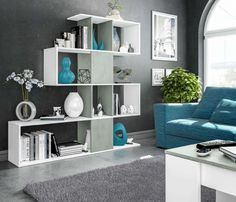 983bb0e136fd This modern large Zig Zag bookcase in a high quality artic white with  concrete grey is