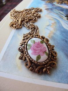 Vintage Filagree Necklace Brooch with by primitivepincushion