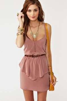 Twisted Peplum Dress - Dusty Rose
