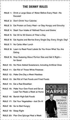 The Skinny Rules, by one of my fav's...Bob Harper.  I agree with all these rules!