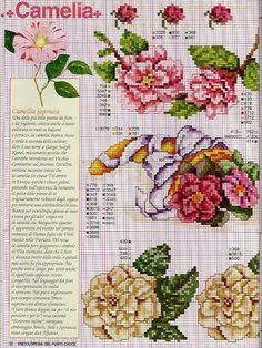 цветы камелия схема вышивки крестом